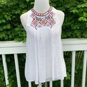 GB white gauze embroidered hi-low tank tunic S
